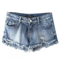 Faded Denim Ripped Shorts