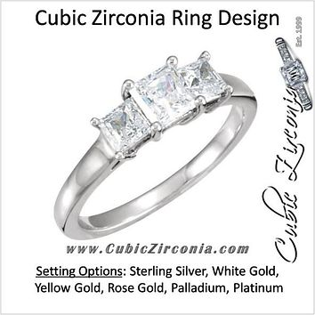 Cubic Zirconia Engagement Ring- The Buffy (0.96 TCW 3-Stone Princess Cut)