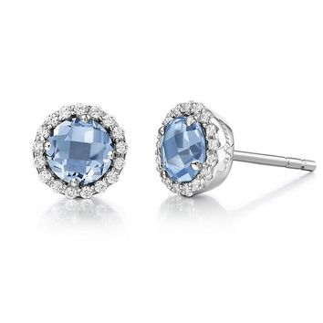 Lafonn Blue Topaz and Simulated Diamond Halo Birthstone Earrings