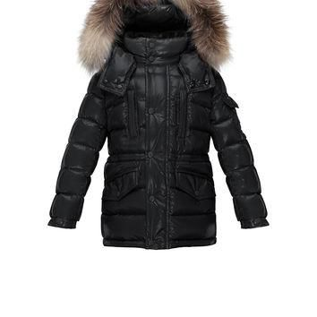 Hooded Fur-Trim Button-Front Puffer Coat, Black, Size 4-6,