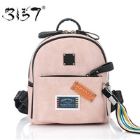 fashion tassel ribbon women bakcpack small school bag for girls appliques patchwork mini leather backpack 3157 sac a dos femme