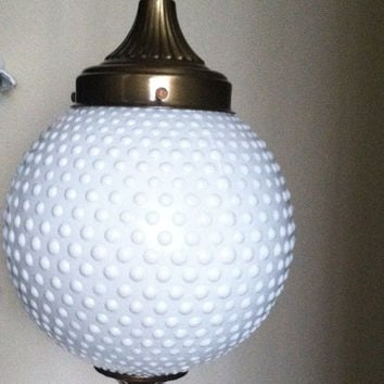 Vintage white milk glass hobnail globe hanging light fixture lamp retro lighting milk glass lighting