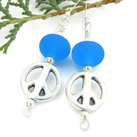 Pewter Peace Sign Aqua Blue Lampwork Handmade Earrings Beaded Jewelry