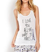 FOREVER 21 All the Way to Paris PJ Set White/Blue