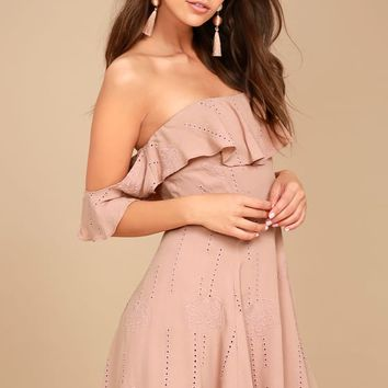ASTR the Label Sabina Mauve Embroidered Off-the-Shoulder Dress