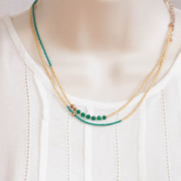 Long Seed Bead Necklace with Green Onyx, Delicate Beaded Boho Chic Necklace, Delicate Seed Bead Jewelry