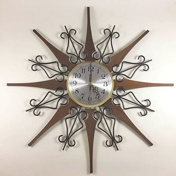 Vintage Welby Starburst Clock Mid Century Modern Starburst Clock Atomic Clock Wood And Metal Starburst Clock Gold Clock MCM Decor