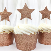 Copper Glitter Star Cupcake Toppers - 12 Large - Party Supplies // Wedding Decorations // Birthday Party