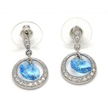Rhodium Plated Dangle Earring, with Swarovski Crystals and Micro Pave, Rhodium Tone
