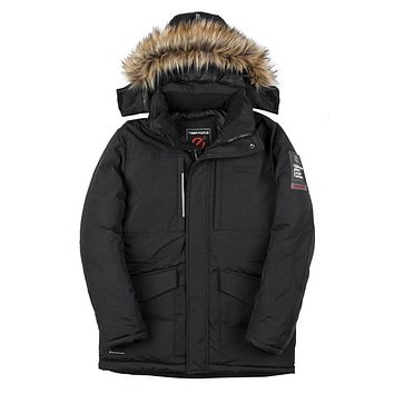 Fashion Men Padded Winter Polyester Coat Mens Thick Parkas Artificial Raccoon Fur