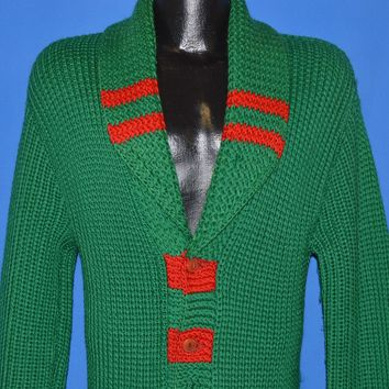 30s Shawl Collar Standard Knitting Mills Wool Cardigan Medium