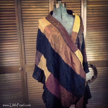 Upcycled Bohemian Gypsy Shawl - Wrap - One of a Kind - Altered Couture