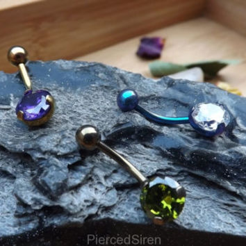 Sparkling belly ring, titanium prong cz, ring titanium, navel gem, belly button piercing jewelry, double anodized ti, 14g button ring