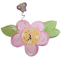 Flower and Butterfly Hand-Painted Clock