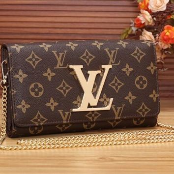 Retro LV Leather Wallet Poket Satchel Bag