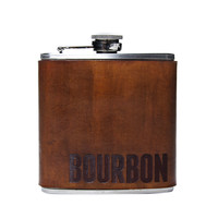 Bourbon Leather Wrapped Flask