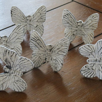 Distressed White Butterfly Knobs/ Butterfly Drawer Knobs / Drawer Pulls/ Shabby Chic/ Rustic/ Metal Knobs/ Drawer Handles/ Nursery