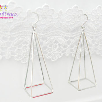 Pyramid Earrings, Triangle Earrings, Hollow Geometric Earrings, Triangular, 3D Earrings, Silver Dull, Gift Box Included, Modern Jewelry