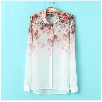 Ladies Women Floral Print Button Down Long Sleeve Shirt Top Blouse Chiffon