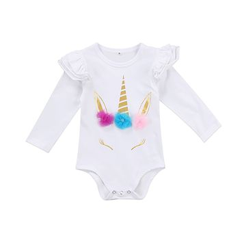 Lovely Newborn Infant Kids Baby Girl unicorn Romper Romper Clothes Long Sleeve Ruffles Infant jumpsuits Clothes