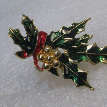 "Vintage Enameled Holly Christmas Brooch, 2.5"", 1960's-1970's, Gold Tone"