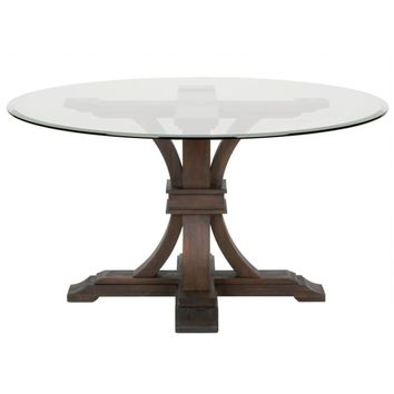 "Devon 54"" Round Glass Dining Table Rustic Java"
