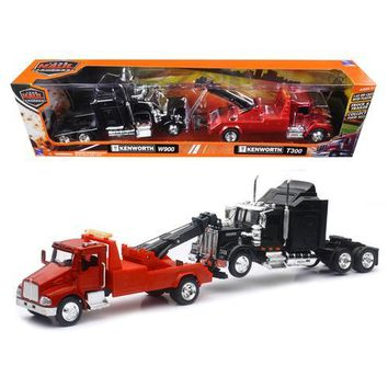Kenworth T300 Tow Truck Red and Kenworth W900 Cab Black 1/43 by New Ray