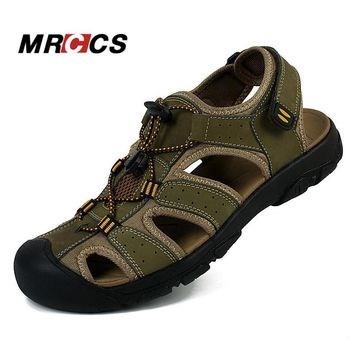 Outdoor Men's Summer Cool Sandals Non Slip Genuine Leather Soft Rubber Sole Beach Sho