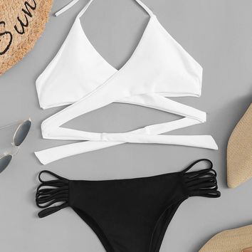 Two Tone Wrap Top With Ladder Cut-out Bikini