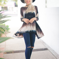 Navy Long Sleeve Tie Dye Tunic
