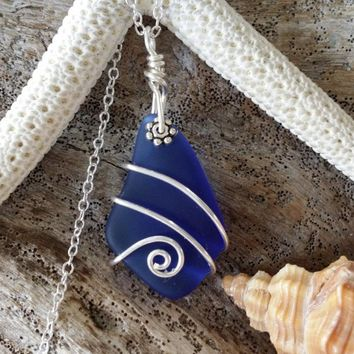 Handmade in Hawaii, Wire wrapped cobalt blue sea glass necklace, Sterling silver chain, gift box, Hawaiian gifts, Mother's Day gift