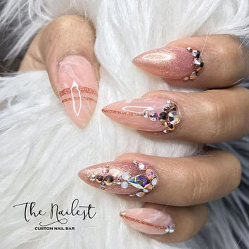 Pink Nude Marble Swarovski Crystal Nail | Press On Nails | Any Shape | Fake Nails | False Nails | Glue On Nails | Bridal Nails | The Nailest