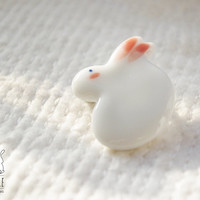 Lovely bunny white porcelain brooch ceramic brooch  by SillyRice