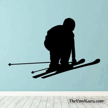 Skiing Wall Decal - Ski Sticker #00005