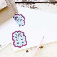 Pink and Blue Cloud Monogram Stationery Set of 12 Cards