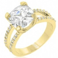 Gillian's Imitation Diamond Cushion Cut Gold Engagement Ring