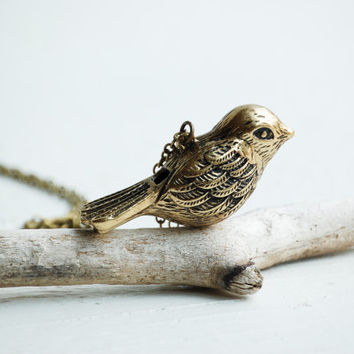 Song BIRD Whistle NECKLACE Vintage Style Antique Brass Bird Pendant Autumn Wedding Bridesmaid