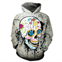 2016 New Design Autumn Cotton Sweatshirts For Women 3D Printed Flowers Skull Hooded Tracksuits Gothic Punk Loose Casual Hoodies