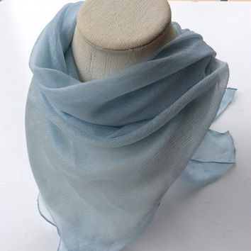 Pastel Blue Square shawl, Iridescent Silk chiffon, Holiday gift, Gift for Bride, Best friend Gift, Oversize Blue  sheer scarf, Ready to ship