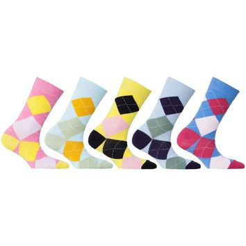 Womens 5-Pair Colorful Argyle Crew Socks