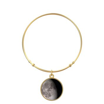 Personalized Moon Phase Gold Bangle Bracelet