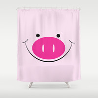 Smiley Pig Face Digital Design Print Shower Curtain by Bees Pretty Prints
