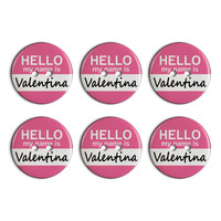 Valentina Hello My Name Is Plastic Resin Button Set of 6