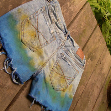 Blue Yellow Tie Dye Unraveled Jean Shots (3040)
