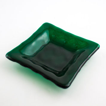 Emerald Green Fused Glass Dish, Jewelry Holder, Trinket Tray, Catch All, Green Home Decor, Diamond Design, Ring Dish, Unique Gifts for Women