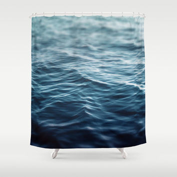 Dark Waters - Shower Curtain, Deep Blue Ocean Water Bathroom Decor Backdrop Accent, Hanging Bath Tub Vanity Bathroom Curtain in 71x74 Inches