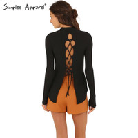Simplee Apparel Backless lace-up knitted pullover Women tops sexy split back criss cross Autumn long sleeve t-shirt Winter tops