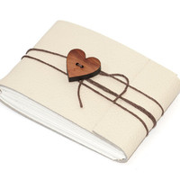 """Cream Leather Journal or Sketchbook with Heart Button, Pocket Sized, Handbound Coptic Stitch - 2 3/4"""" x 3 3/4"""""""