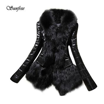 Sunfree 2017 New Designer Women Warm Fur Collar Coat Leather Thick Jacket Overcoat Parka Brand New High Quality Dec 21