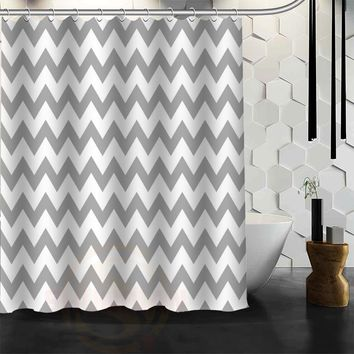 New arrive Custom classic chevron Shower Curtain Polyester Fabric Custom Bathroom Curtain with Hooks Free Shipping